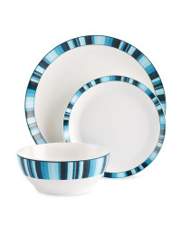 Crofton 12-Piece Dinner Stripe Set - Blue
