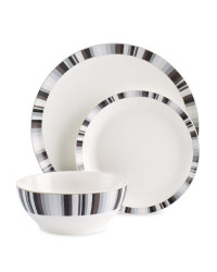 Crofton 12-Piece Dinner Stripe Set - Silver