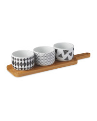 Crofton Serving Board & Round Bowls - Black/White