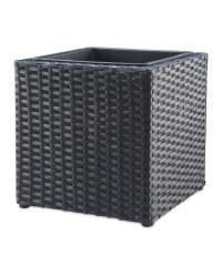 Cubed Rattan Effect Planter - Black