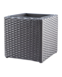 Cubed Rattan Effect Planter - Grey