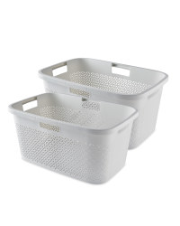 Curver White Laundry Baskets 2 Pack