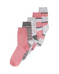 Ladies' Spotty  Socks 5 Pack