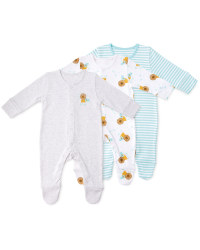 Organic Lion Baby Sleep Suits 3 Pack