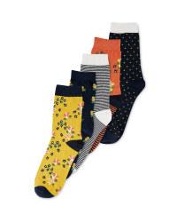 Ladies' Flower Socks 5 Pack