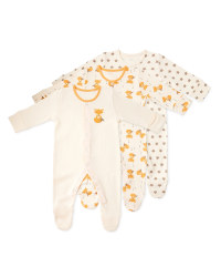Organic Fox Baby Sleep Suits 3 Pack