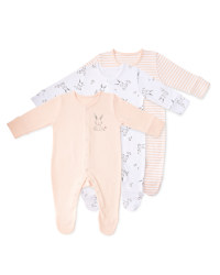 Organic Rabbit Sleep Suits 3 Pack