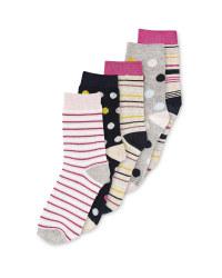 Ladies' Stripes & Spots Socks 5 Pack