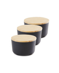 Small Bamboo Canisters 3 Pack - Dark Grey