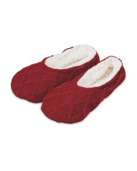 Dark Red Knitted Slipper Socks