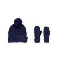 Diagonal Gloves and Beanie Set