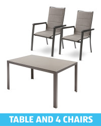 Dining Table And 4 Grey/Beige Chairs