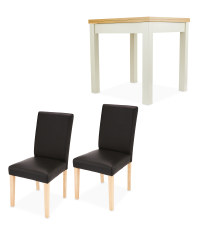 Dining Table and 2 Black Chairs