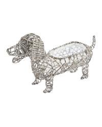 Dog Rattan Animal Planter - Slate