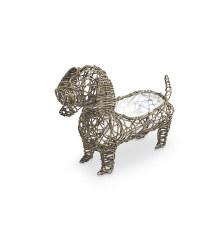 Dog Rattan Effect Animal Planter - Slate
