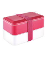 Double Bento Lunchbox - Bright Pink