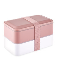 Double Bento Lunchbox - Pale Pink
