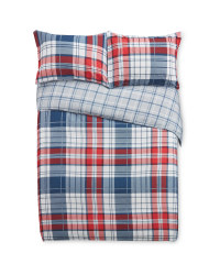 Double Blue/Red Check Duvet Set