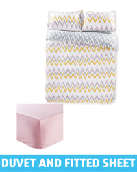 Double Duvet & Pink Fitted Sheet