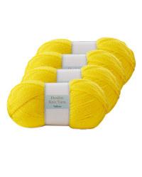Double Knitting Yarn Yellow 4 Pack