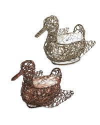 Duck Rattan Effect Animal Planter