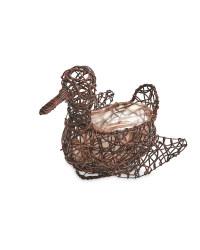 Duck Rattan Effect Animal Planter - Chestnut