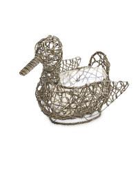 Duck Rattan Effect Animal Planter - Slate