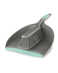 Easy Home Dustpan and Brush Set - Grey/Sea Blue