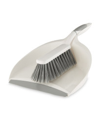 Easy Home Dustpan and Brush Set - White/Grey