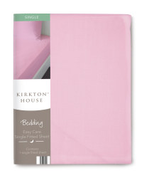 Easy Care Single Fitted Sheet - Pink