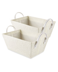 Easy Home Off White Storage Tote Set