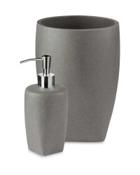 Stone Effect Bin & Dispenser Set - Grey