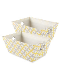 Easy Home Storage Tote 2-Pack - Grey/Yellow