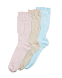 Easytop® Extra Roomy Socks 3 Pack - Pink/Oatmeal/Duck Egg