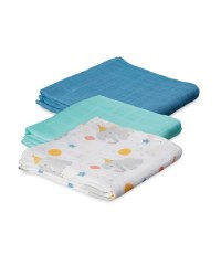 Elephant Muslin Cloths 3 Pack