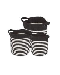 Fabric Storage Bucket 3 Pack - Black