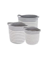 Fabric Storage Bucket 3 Pack - Grey