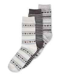 Fairisle Heart Avenue 3 Pack Socks