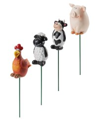 Farm Animals Plant Pot Sticks 4 Pack