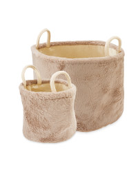 Faux Fur Baskets 2 Pack - Mink