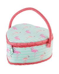 Flamingo Heart Shaped Sewing Box