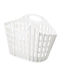 Fold Flat Laundry Basket - White