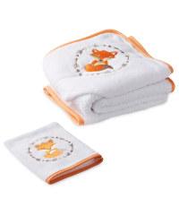 Fox Hooded Baby Towel & Mitt