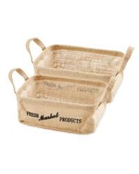 Fresh Hessian Basket Set 2 Pack