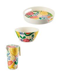Fruit Round Bamboo Serveware Set