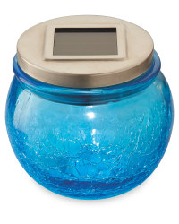 Garden Bright Solar Crackled Lantern - Blue