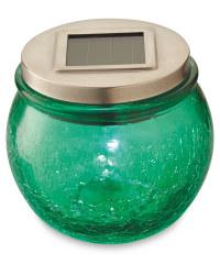 Garden Bright Solar Crackled Lantern - Green