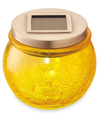 Garden Bright Solar Crackled Lantern - Yellow