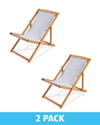 Gardenline Grey Wooden Deck Chairs