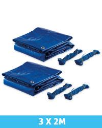 Gardenline Tarpaulin 3 x 2m 2 Pack - Blue